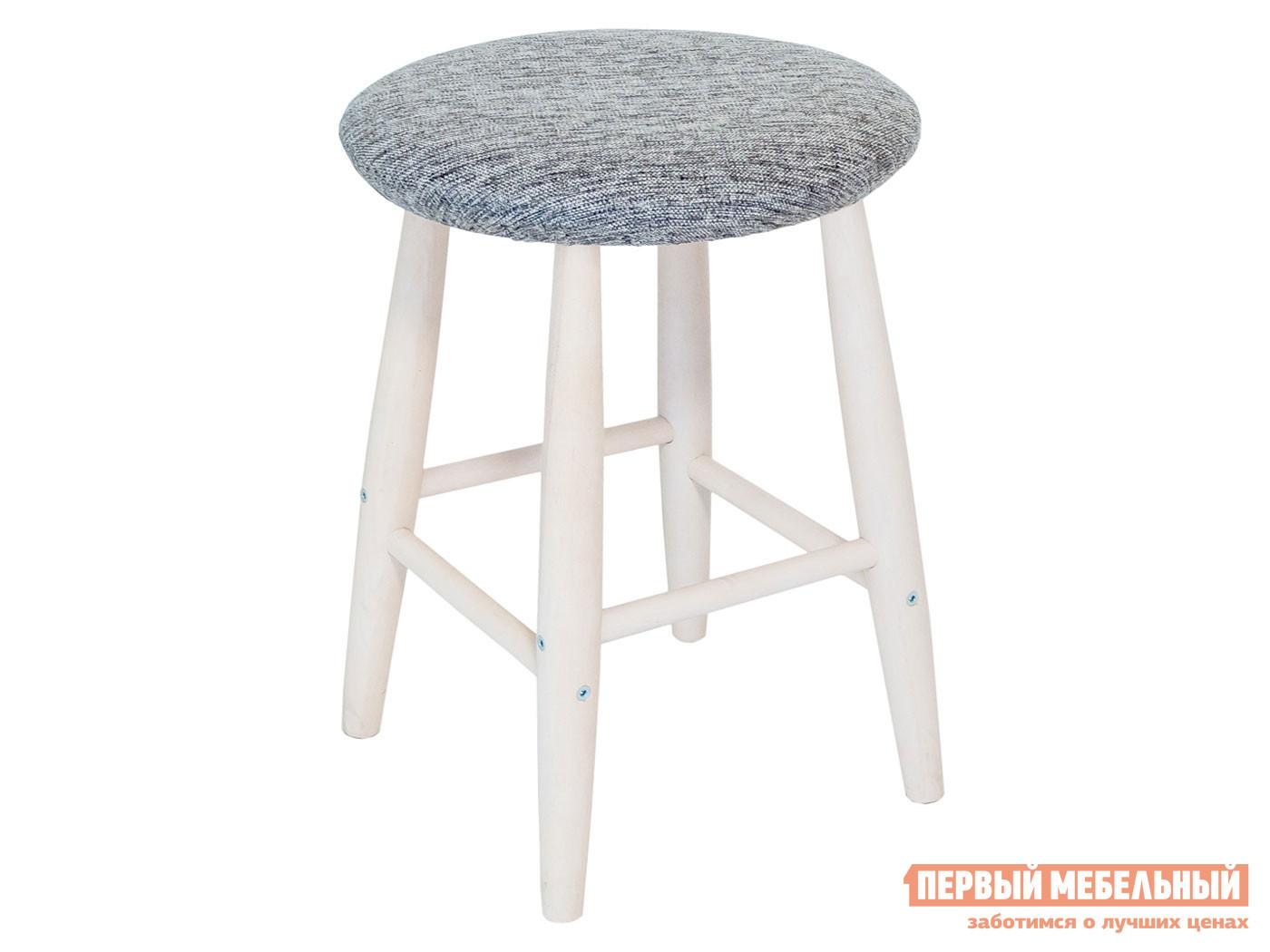 Табурет  Табурет мягкая круглая крышка массив Выбеленная береза / Модерн Серый