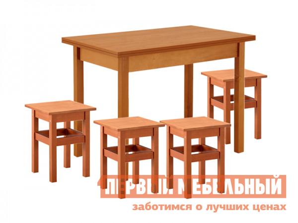 Обеденная группа для кухни Боровичи Хатико + 4 Тиара ВишняОбеденные группы для кухни<br>Габаритные размеры ВхШхГ 746x900 / 1200x600 / 900 мм. Компактная обеденная группа отлично впишется в классический интерьер кухни или дачного домика.  Все компоненты группы выполнены в одном стиле прямых линий. Стол раскладывается до 1200 мм, позволяя разместить больше гостей. Размеры табуретов — 470 х 340 х 340 мм. Столешница выполняется из ЛДСП. Обратите внимание, когда стол находится в полностью разложенном виде, на столешнице видны заклепки.<br><br>Цвет: Красное дерево<br>Высота мм: 746<br>Ширина мм: 900 / 1200<br>Глубина мм: 600 / 900<br>Кол-во упаковок: 5<br>Форма поставки: В разобранном виде<br>Срок гарантии: 18 месяцев<br>Тип: Раскладные<br>Тип: На 4 персоны<br>Материал: Дерево<br>Материал: ЛДСП<br>Материал: Натуральное дерево<br>Порода дерева: Береза<br>Форма: Прямоугольные<br>Размер: Маленькие<br>С табуретками: Да