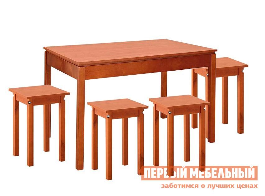 Обеденная группа для кухни Боровичи Скиф + 4 Каппа Вишня Боровичи Габаритные размеры ВхШхГ 750x1100 / 1600x750 мм. Компактная обеденная группа с удобным раздвижным столом.  Такая группа станет отличным дополнением как для кухни, так и для дачного домика. <br>Размер стола: 750 x 1100/1600 x 750 мм;</br>Размер табуретов: 470 х 340 х 340 мм. <br>Ножки стола и табуретов изготавливаются из массива березы, столешница и сидения — ЛДСП. <br>