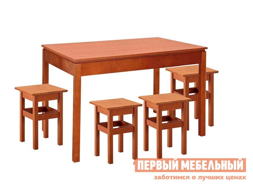 Обеденная группа для кухни Боровичи Скиф + 4 Тиара Вишня Боровичи Габаритные размеры ВхШхГ 750x1100 / 1600x750 мм. Классическая обеденная группа, включающая в себя раздвижной стол и четыре табурета.  Все элементы выполнены в едином стиле прямых линий и станут отличным дополнением как на кухне, так и на даче. <br>Размер стола: 750 x 1100/1600 x 750 мм;</br>Размер табуретов: 470 х 340 х 340 мм. <br>Столешница выполняется из ЛДСП.  Табурет полностью выполнен из массива березы. <br>