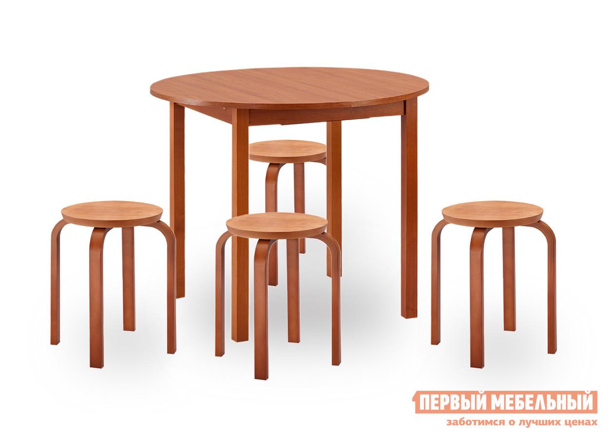Обеденная группа для кухни Боровичи Норония + 4 Гамма ВишняОбеденные группы для кухни<br>Габаритные размеры ВхШхГ 750x900 / 1200x900 мм. Компактная обеденная группа станет отличным дополнением классического интерьера кухни или дачного домика. Группа включает в себя круглый стол и четыре табурета. Табуреты можно штабелировать, тем самым экономя пространство в помещении. Стол при необходимости раскладывается до 1200 мм, позволяя разместить больше гостей. Размеры табуретов — 445 х 320 х 320 мм. Ножки стола и механизм раскладывания выполняется из массива березы, столешница ЛДСП.  Крышка табуретов изготавливается из массива, ножки клееный брус. Обратите внимание, когда стол находится в полностью разложенном виде, на столешнице видны заклепки.<br><br>Цвет: Красное дерево<br>Высота мм: 750<br>Ширина мм: 900 / 1200<br>Глубина мм: 900<br>Кол-во упаковок: 2<br>Форма поставки: В разобранном виде<br>Срок гарантии: 18 месяцев<br>Тип: Раздвижные<br>Тип: Трансформер<br>Тип: На 4 персоны<br>Материал: Дерево<br>Материал: ЛДСП<br>Материал: Натуральное дерево<br>Порода дерева: Береза<br>Форма: Круглые<br>Размер: Маленькие<br>С табуретками: Да