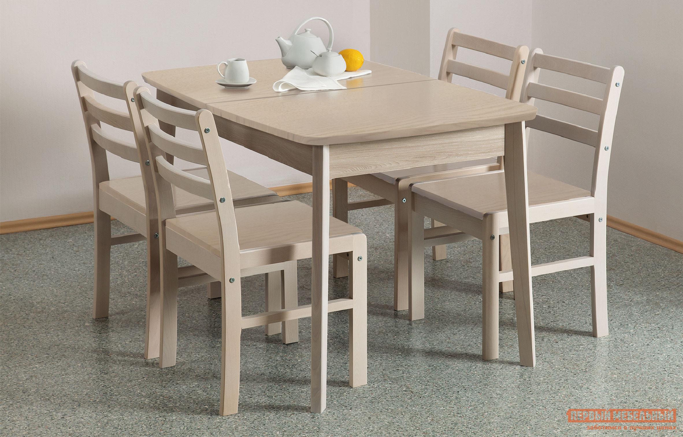 все цены на Обеденная группа для кухни Боровичи Стол обеденный раздвижной (овальная крышка) + 4 стула Массив в интернете