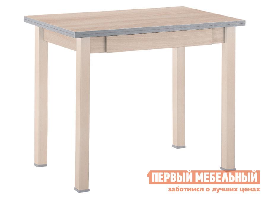 Кухонный стол Стол обеденный раскладной прямая ножка с ящиком Выбеленная береза (массив) / Шимо светлый (ЛДСП) фото