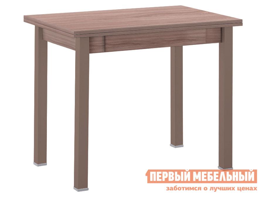 Кухонный стол Стол обеденный раскладной прямая ножка с ящиком Капучино (массив) / Шимо темный (ЛДСП) фото