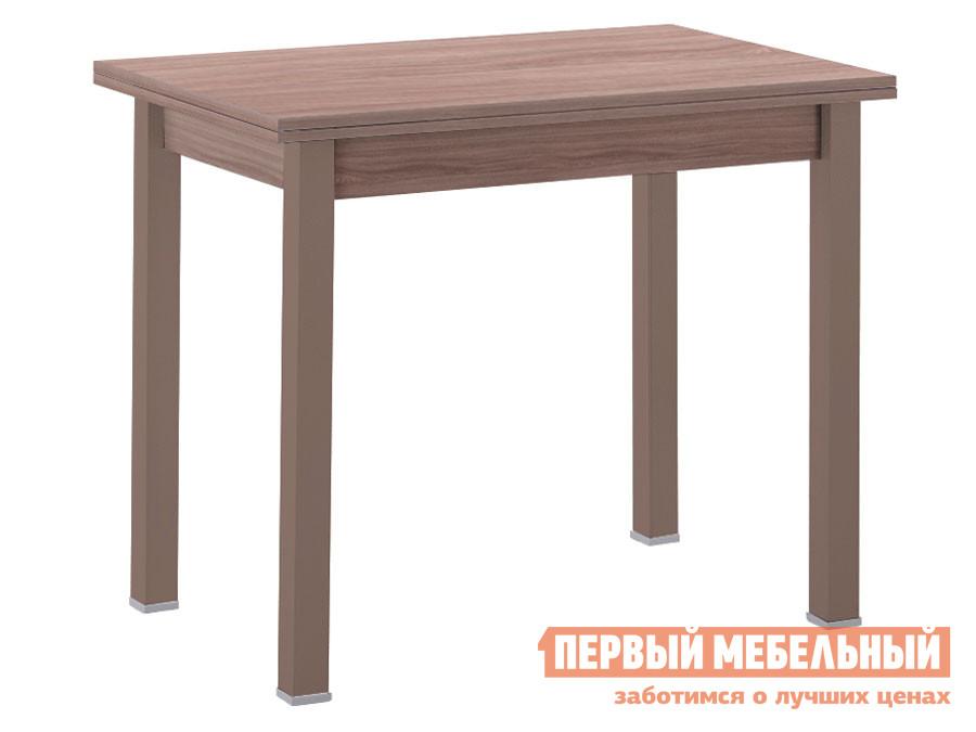 Кухонный стол Стол обеденный раскладной прямая ножка Капучино (массив) / Шимо темный (ЛДСП) фото