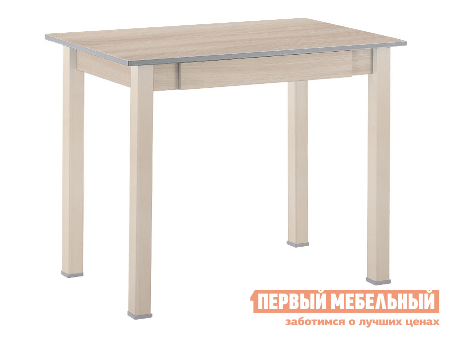 Кухонный стол Стол обеденный прямая ножка с ящиком Выбеленная береза (массив) / Шимо светлый (ЛДСП) фото