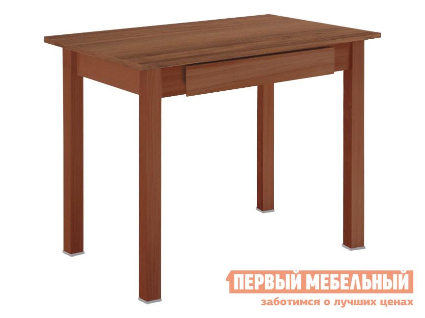 Кухонный стол Стол обеденный прямая ножка с ящиком Вишня (массив) / Орех фото