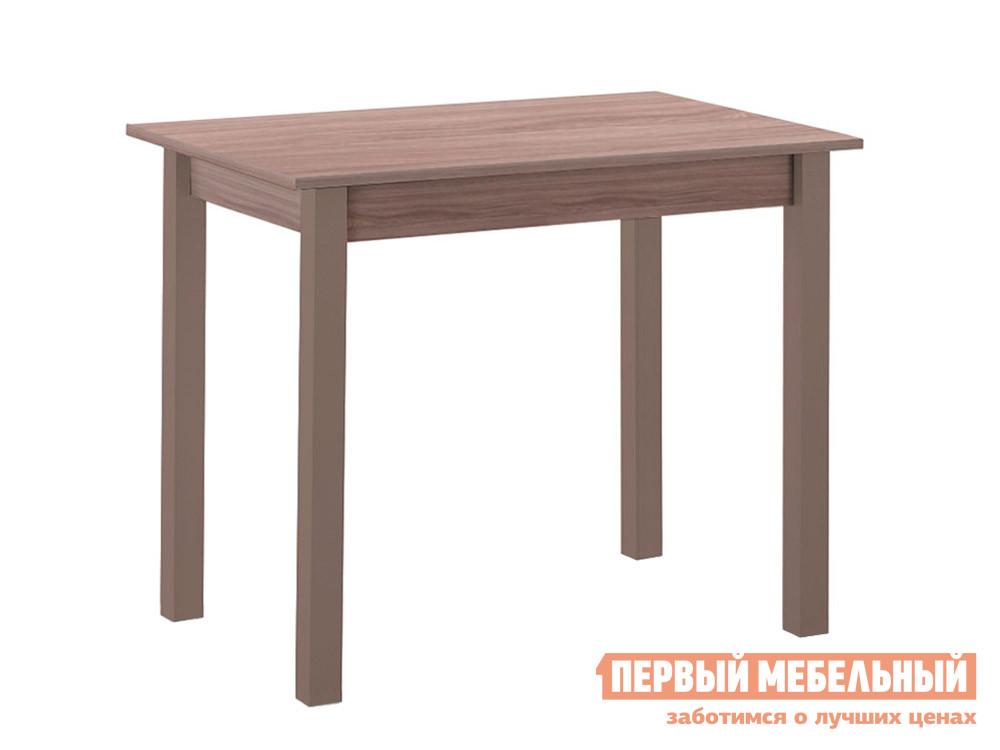 Кухонный стол Стол обеденный прямая ножка Капучино (массив) / Шимо темный (ЛДСП) фото