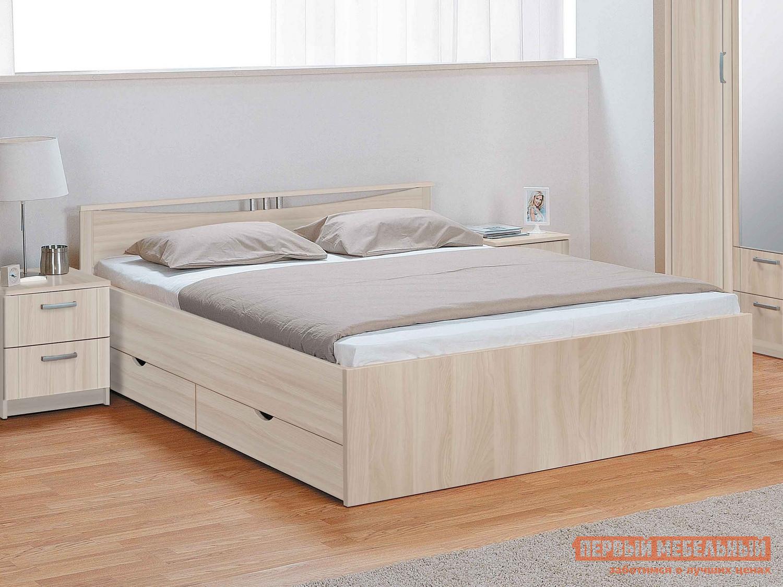 Кровать Боровичи Мелисса с ящиками Шимо светлый, Спальное место 900 Х 2000 мм