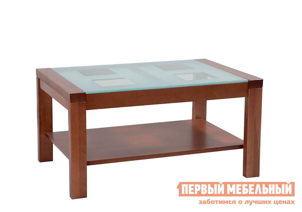 Журнальный столик Боровичи Стол журнальный Массив со стеклом Вишня