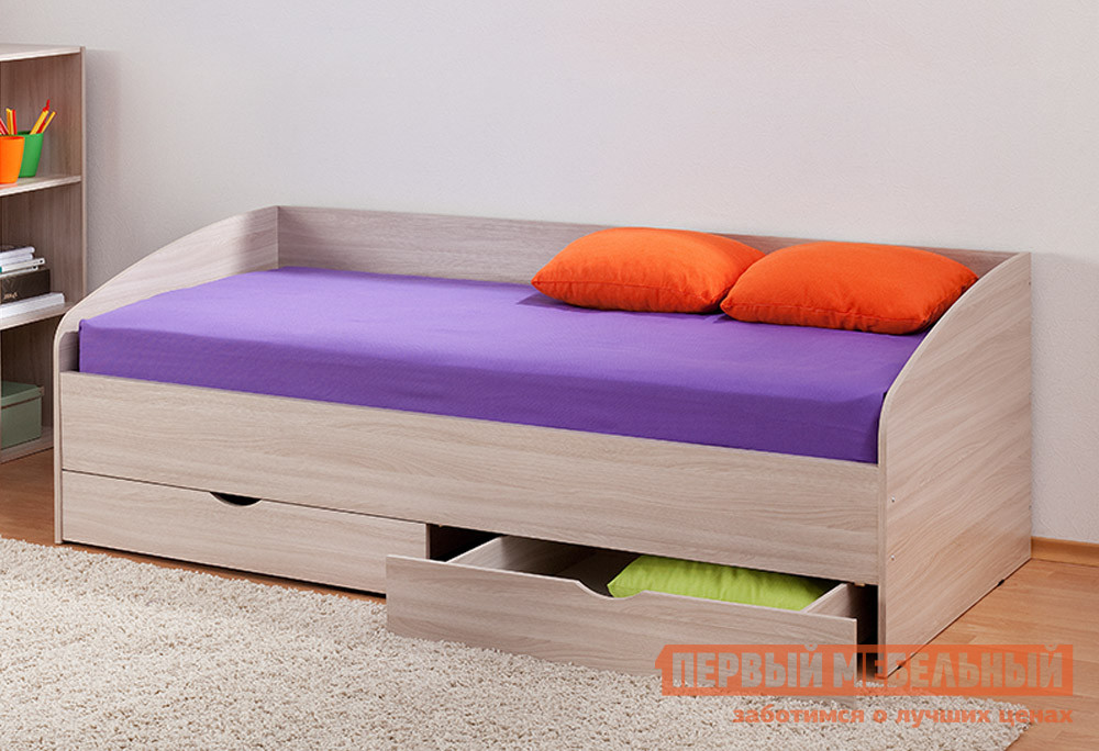 Детская кровать Боровичи Соня-3 Шимо светлый, С матрасомДетские кровати<br>Габаритные размеры ВхШхГ 700x2050x950 мм. Удобная кровать Соня для подростка.  С прямой спинкой и закругленными боковинами такая модель — уютный вариант для любого интерьера детской или подростковой комнаты.  В основании есть два вместительных ящика высотой 165 мм для постельных принадлежностей. Размер спального места: 900 х 2000 мм. Изделие выполняется из ЛДСП. Обратите внимание! Необходимо выбрать удобный для вас вариант покупки кровати: с матрасом или без него.  Ознакомиться с матрасом, который входит в комплект к кровати, вы можете в разделе «Аксессуары».<br><br>Цвет: Светлое дерево<br>Высота мм: 700<br>Ширина мм: 2050<br>Глубина мм: 950<br>Кол-во упаковок: 1<br>Форма поставки: В разобранном виде<br>Срок гарантии: 18 месяцев<br>Тип: Угловые<br>Тип: Одноярусные<br>Назначение: Для подростков<br>Материал: ЛДСП<br>Размер: Спальное место 90Х200<br>Размер: Низкие<br>С ящиками: Да<br>С ящиком для белья: Да<br>С матрасом: Да<br>Возраст: От 3-х лет<br>Возраст: От 4-х лет<br>Возраст: От 5 лет<br>Пол: Для девочек<br>Пол: Для мальчиков<br>Размер спального места: Односпальные