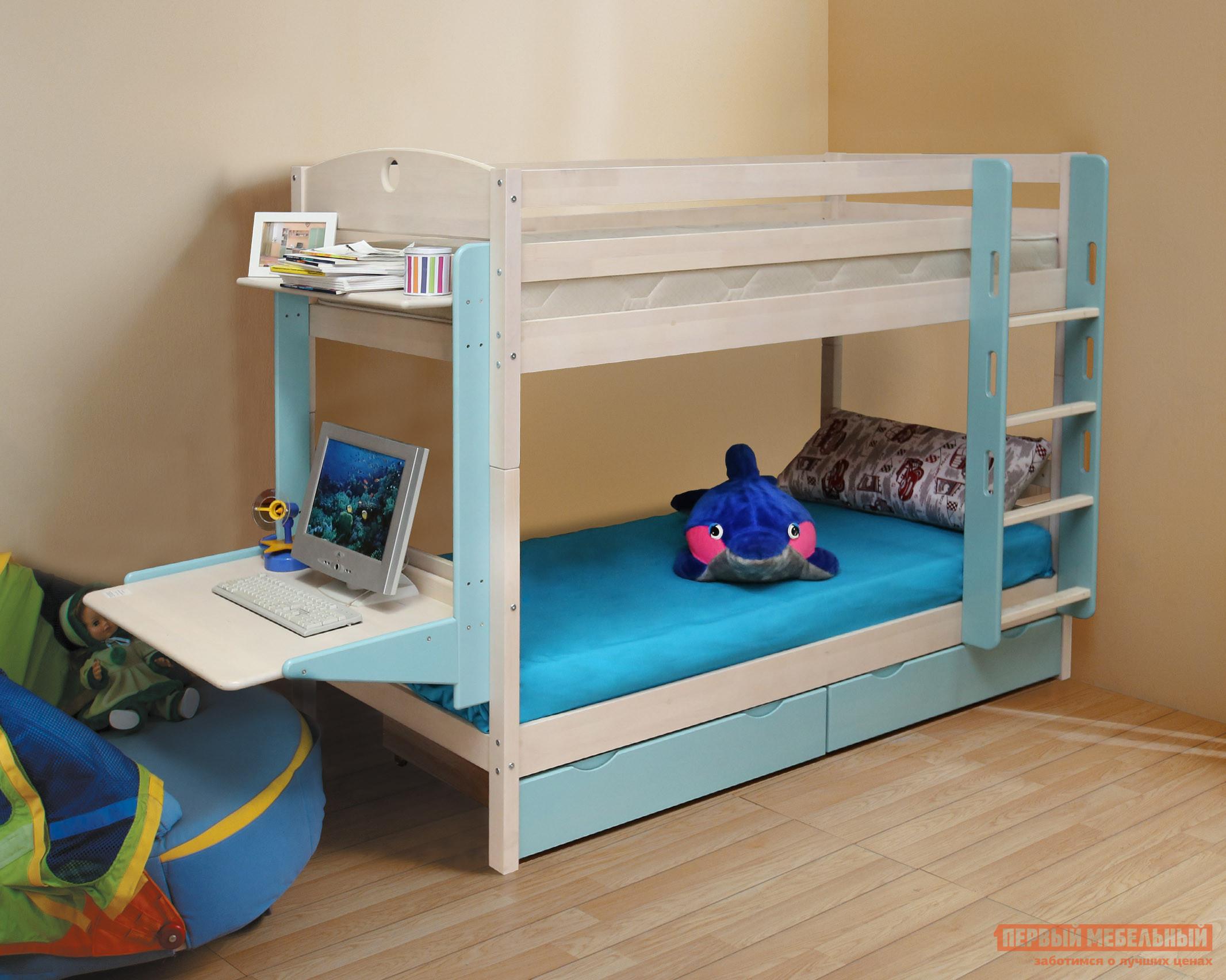 Детская двухъярусная кровать с рабочей зоной Боровичи Кровать детская Двухъярусная Трансформер с ящиком и столиком детская кровать kidkraft детская кровать рыцарский замок