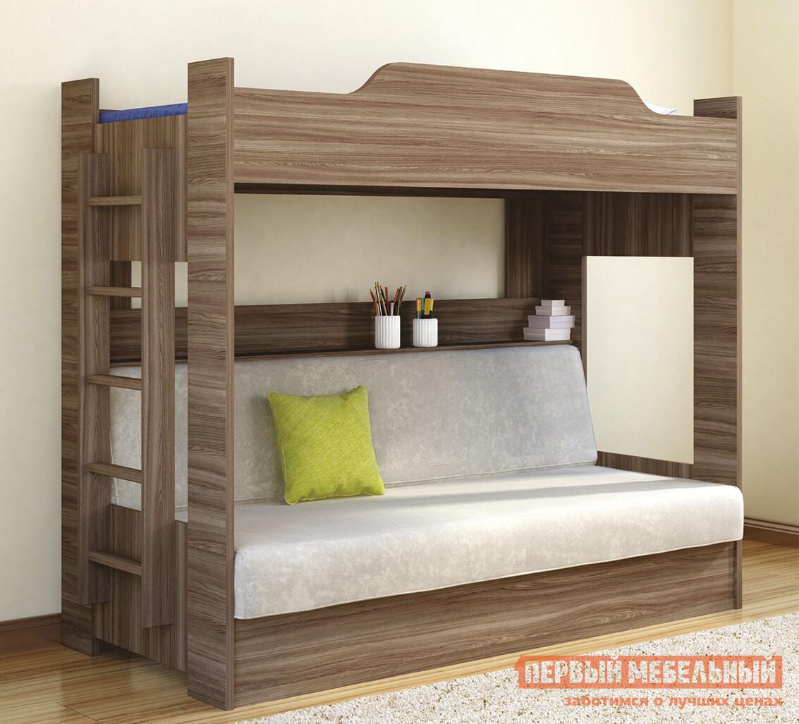 Кровать Боровичи Двухъярусная кровать с диваном Шимо темный, Плейн оливковый, Без матраса