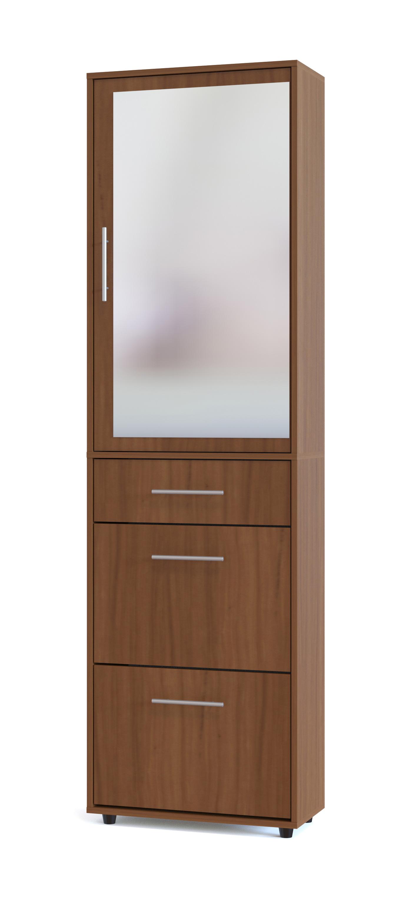 Прихожая Сокол ТП-2 + ПЗ-5 Ноче-экко Сокол Габаритные размеры ВхШхГ 2087x600x287 мм. Составной шкаф для прихожей состоит из высокой обувницы и подвесного шкафчика с зеркалом.  Это прекрасное решение для небольшого коридора.  Набор входит в модульную серию мебель, поэтому его легко можно дополнить другими, идеально подходящими по дизайну и размерам элементами. За зеркалом расположены четыре полки.  Дверь универсальная, при сборке петли могут быть расположены с любой стороны, и дверь будет открываться на удобную вам сторону.  Обувница рассчитана на размещение 8 пар обуви.  Максимальный размер обуви, который помещается в обувницу: 45. Размеры модулей:обувница (ВхШхГ): 1043 х 600 х 287 мм;шкафчик с зеркалом (ВхШ): 1044 х 600 х 287 мм.  Прихожая изготовлена из высококачественной ДСП 16 мм, края отделаны кромкой ПВХ 0,4 мм.  Рекомендуем сохранить инструкцию по сборке (паспорт изделия) до истечения гарантийного срока.