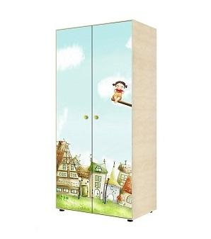 Шкаф детский Ижмебель Шкаф для одежды двухдверный 2 Ясень Асахи / Фисташковый