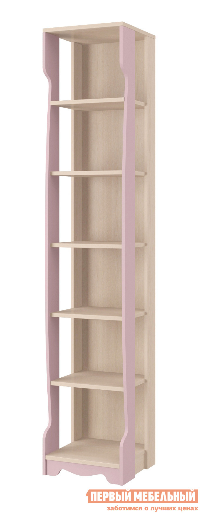Стеллаж в детскую Интеди ИД 01.233а Дуб Млечный / Розовый