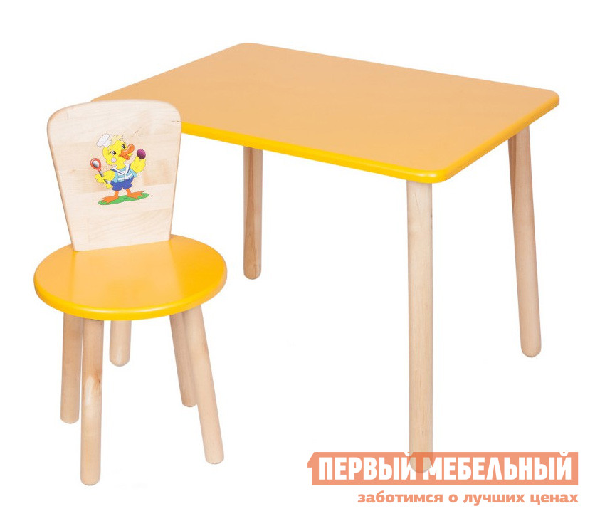 Столик и стульчик РусЭкоМебель Набор №1: Стол Большой 60*50 ЭКО+Стул Круглый ЭКО Эко желтый, рис. УтенокСтолики и стульчики<br>Габаритные размеры ВхШхГ 520x600x500 мм. Набор мебели в детскую включает в себя прямоугольный столик и стульчик.  Спинка стула декорирована ярким рисунком.  Комплект подходит для детей от 1 года до 7 лет.  Разнообразие цветовых решений и лаконичный дизайн изделий позволит подобрать набор для любого интерьера.  Отличный вариант для меблировки зоны для игр и творчества. Высота стола — 520 мм, размеры столешницы (ШхГ) — 600 х 500 мм. Высота стула составляет 570 мм. Высота от пола до сидения стула — 320 мм. Диаметр сидения — 310 мм. Вес стола составляет 6 кг, стульчика — 2,2 кг. Стул выдерживает вес до 100 кг. Мебель изготавливается из натурального дерева — березы, все края тщательно обработаны и отшлифованы.  Цветные поверхности покрыты экологически безопасной краской, ножки обработаны лаковым покрытием.<br><br>Цвет: Эко желтый, рис. Утенок<br>Цвет: Желтый<br>Высота мм: 520<br>Ширина мм: 600<br>Глубина мм: 500<br>Кол-во упаковок: 2<br>Форма поставки: В разобранном виде<br>Срок гарантии: 12 месяцев<br>Материал: Деревянные, Из натурального дерева<br>Порода дерева: из березы<br>Пол: Для девочек, Для мальчиков