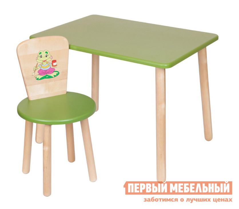 Столик и стульчик РусЭкоМебель Набор №1: Стол Большой 60*50 ЭКО+Стул Круглый ЭКО Эко зеленый, рис. ЛягушонокСтолики и стульчики<br>Габаритные размеры ВхШхГ 520x700x500 мм. Набор мебели в детскую включает в себя прямоугольный столик и стульчик.  Спинка стула декорирована ярким рисунком.  Комплект подходит для детей от 2 года до 7 лет.  Разнообразие цветовых решений и лаконичный дизайн изделий позволит подобрать набор для любого интерьера.  Отличный вариант для меблировки зоны для игр и творчества. Высота стола — 520 мм, размеры столешницы (ШхГ) — 700 х 500 мм. Высота стула составляет 570 мм. Высота от пола до сидения стула — 320 мм. Диаметр сидения — 310 мм. Вес стола составляет 6 кг, стульчика — 2,2 кг. Стул выдерживает вес до 100 кг. Мебель изготавливается из натурального дерева — березы, все края тщательно обработаны и отшлифованы.  Цветные поверхности покрыты экологически безопасной краской, ножки обработаны лаковым покрытием.<br><br>Цвет: Эко зеленый, рис. Лягушонок<br>Цвет: Зеленый<br>Высота мм: 520<br>Ширина мм: 700<br>Глубина мм: 500<br>Кол-во упаковок: 2<br>Форма поставки: В разобранном виде<br>Срок гарантии: 12 месяцев<br>Материал: Деревянные, Из натурального дерева<br>Порода дерева: из березы<br>Пол: Для девочек, Для мальчиков