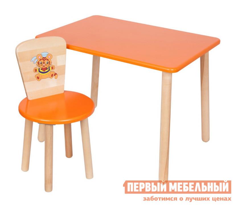 Столик и стульчик РусЭкоМебель Набор №1: Стол Большой 70*50 ЭКО+Стул Круглый ЭКО Эко оранжевый, рис. Тигренок