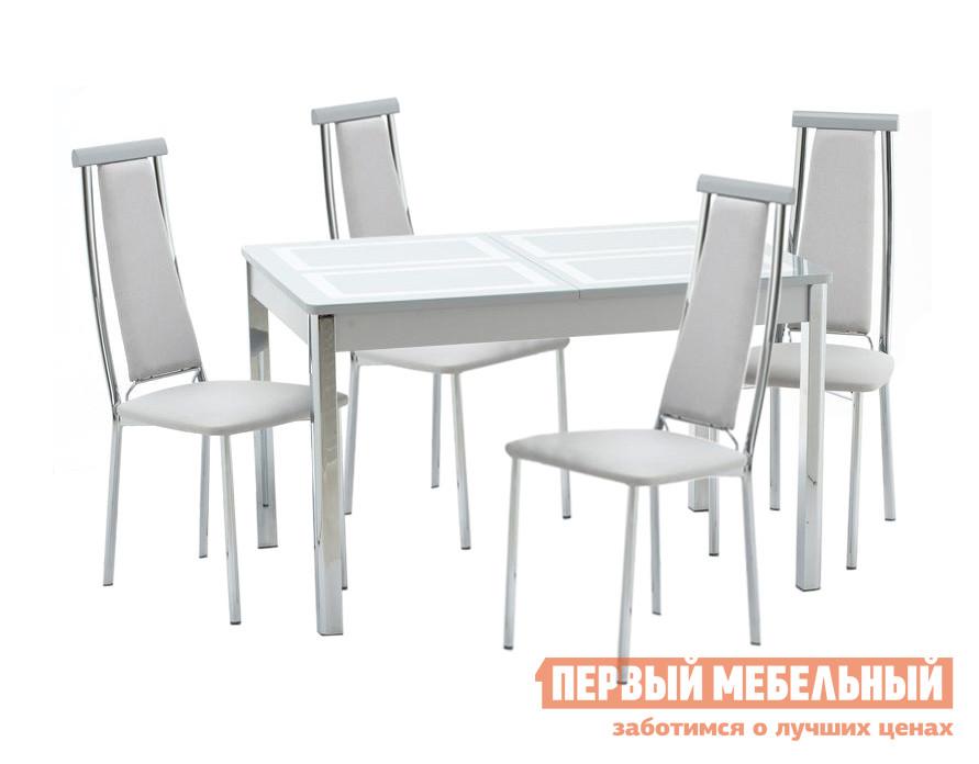 Обеденная группа для кухни Кубика Ницца-1 Рис.1 (ноги хром) + 4шт. Капри-2 Стекло серебро / Серебро Кубика Габаритные размеры ВхШхГ 750x1100/1450x700 мм. Элегантная обеденная группа, включающая в себя обеденный стол со стеклянной столешницей и четыре стула с высокой спинкой.  Комплект выполнен в светлых серебристых оттенках и станет стильным элементом для современного интерьера кухни или столовой зоны.  Обеденный стол при необходимости раскладывается до 1450 мм за счет дополнительной вставки размером 350 мм. <br>Размеры стола (ВхШхГ): 750 х 1100/1450 х 700 мм. </br>Механизм трансформации — «бабочка». </br>Размеры стульев (ВхШхГ): 1020 х 450 х 430 мм. Столешница изготавливается из итальянского закаленного стекла, окрашенного керамическими красками с ламинированными деталями, подстолье выполнено из зеркального хромированного Polished mirror, ножки — хромированный металл.  Каркас стульев производится из хрома, обивка спинки и сиденья — искусственная кожа, на верхней части спинки накладка из дерева. <br>