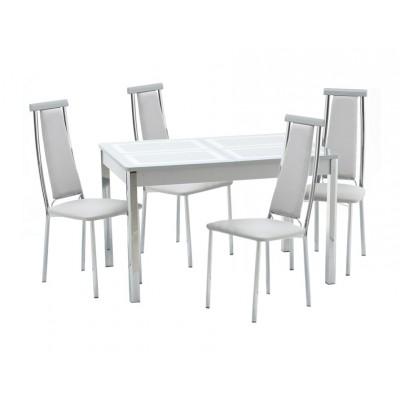 Обеденная группа для кухни Кубика Ницца-1 Рис.1 (ноги хром) + 4шт. Капри-2 Стекло серебро / Серебро