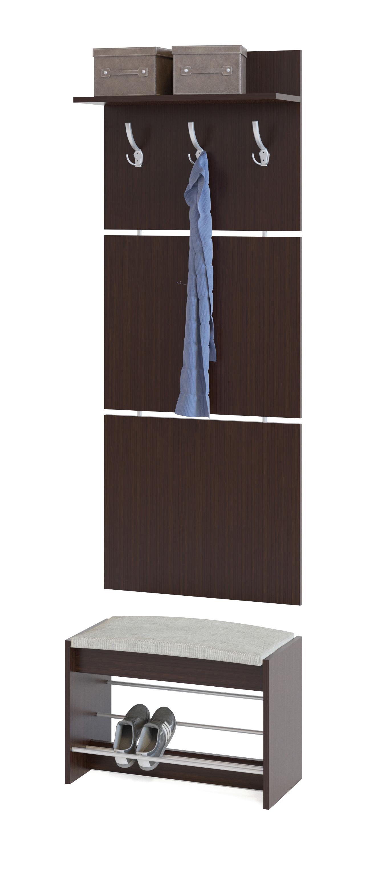 Прихожая Сокол ВШ-5.1+ТП-5 ВенгеПрихожие в коридор<br>Габаритные размеры ВхШхГ 1898x600x281 мм. Настенная вешалка с обувницей — удобный вариант для маленькой прихожей.  Модель позволит разместить сезонную одежду всей семьи.  Вешалка состоит из 3-х панелей соединенных металлическими вставками.  Полка, закрепленная над крючками для одежды, предназначена специально для головных уборов и зонтов.  Максимальная нагрузка на полку составляет 5 кг. Обувница имеет мягкое сидением, на котором удобно будет переобуваться.  Открытые полочки позволяют разместить до четырех пар обуви.  Максимальная нагрузка на обувницу — 120 кг. Модули изготавливаются из ЛДСП 16 мм, края обработаны кромкой ПВХ 0,4 мм.  Наполнение мягкого элемента на обувнице — ППУ, обивка — ткань рогожка.  Рекомендуем сохранить инструкцию по сборке (паспорт изделия) до истечения гарантийного срока.<br><br>Цвет: Венге<br>Цвет: Венге<br>Высота мм: 1898<br>Ширина мм: 600<br>Глубина мм: 281<br>Кол-во упаковок: 2<br>Форма поставки: В разобранном виде<br>Срок гарантии: 2 года<br>Тип: Прямые<br>Характеристика: Модульные<br>Материал: из ЛДСП<br>Размер: Маленькие, Узкие, Глубиной до 30 см, Глубиной до 35 см<br>Особенности: С сиденьем, С открытой вешалкой, С обувницей, Без шкафа