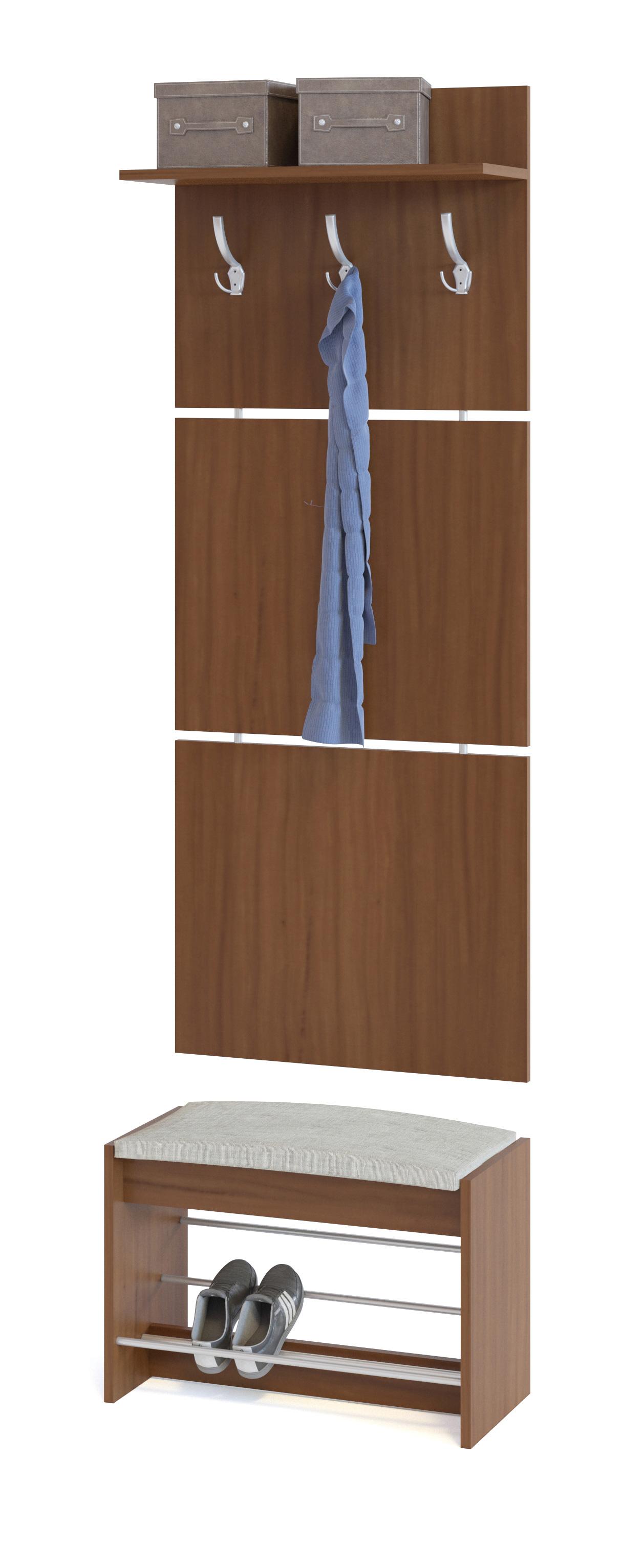 Прихожая Сокол ВШ-5.1+ТП-5 Ноче-эккоПрихожие в коридор<br>Габаритные размеры ВхШхГ 1898x600x281 мм. Настенная вешалка с обувницей — удобный вариант для маленькой прихожей.  Модель позволит разместить сезонную одежду всей семьи.  Вешалка состоит из 3-х панелей соединенных металлическими вставками.  Полка, закрепленная над крючками для одежды, предназначена специально для головных уборов и зонтов.  Максимальная нагрузка на полку составляет 5 кг. Обувница имеет мягкое сидением, на котором удобно будет переобуваться.  Открытые полочки позволяют разместить до четырех пар обуви.  Максимальная нагрузка на обувницу — 120 кг. Модули изготавливаются из ЛДСП 16 мм, края обработаны кромкой ПВХ 0,4 мм.  Наполнение мягкого элемента на обувнице — ППУ, обивка — ткань рогожка.  Рекомендуем сохранить инструкцию по сборке (паспорт изделия) до истечения гарантийного срока.<br><br>Цвет: Ноче-экко<br>Цвет: Коричневое дерево<br>Высота мм: 1898<br>Ширина мм: 600<br>Глубина мм: 281<br>Кол-во упаковок: 2<br>Форма поставки: В разобранном виде<br>Срок гарантии: 2 года<br>Тип: Прямые<br>Характеристика: Модульные<br>Материал: из ЛДСП<br>Размер: Маленькие, Узкие, Глубиной до 30 см, Глубиной до 35 см<br>Особенности: С сиденьем, С открытой вешалкой, С обувницей, Без шкафа