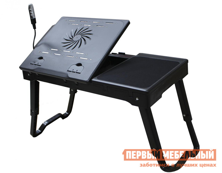 Подставка для ноутбука Smart bird PT-33-А ЧерныйПодставки для ноутбука<br>Габаритные размеры ВхШхГ 250 / 390x550x300 мм. Столик для ноутбука оснащен всем самым необходимым для комфортной работы.  Подъемная часть столешницы оборудована кулером, предохраняющим устройство от перегрева.  Также есть светодиодная лампа на гибкой ножке.  Лампа питается от USB или от батареек. Справа расположен антискользящий коврик, который позволят комфортно работать с мышкой. Высота столика может легко меняться от 25 см до 39 см. Столик оборудован портами USB - четыре обычных и один mini. Изделие выполнено из пластика, отличающегося особой прочностью.<br><br>Цвет: Черный<br>Цвет: Черный<br>Высота мм: 250 / 390<br>Ширина мм: 550<br>Глубина мм: 300<br>Кол-во упаковок: 1<br>Форма поставки: В собранном виде<br>Срок гарантии: 12 месяцев<br>Тип: для работы в кровати<br>Особенности: С кулером, Охлаждающие