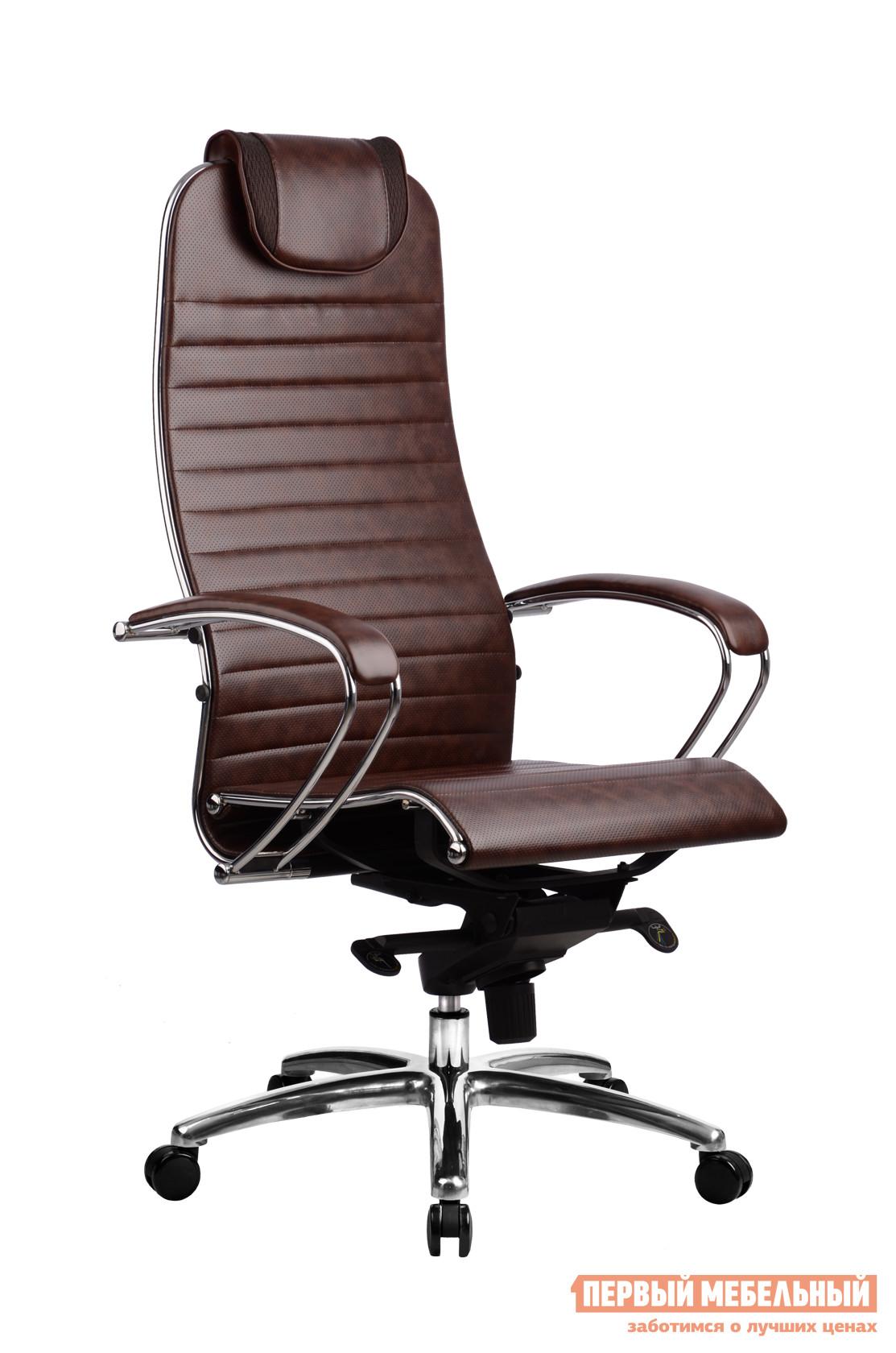 Кресло руководителя Метта Samurai K-1.02 Кожа перфорированная темно-коричневая