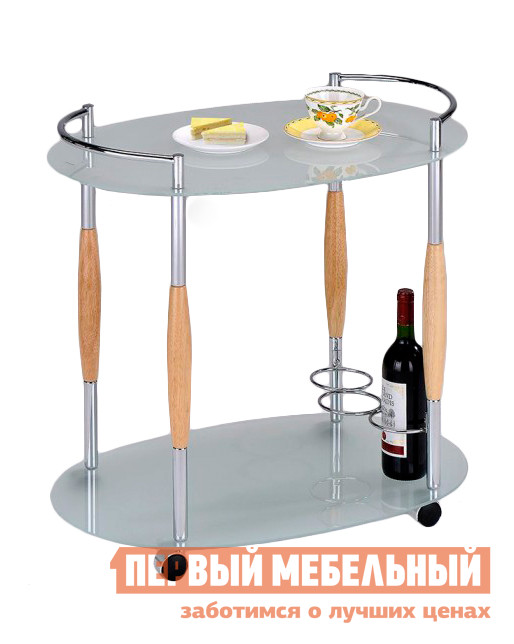 Сервировочный столик Red and Black SC 5037-G ДубСервировочные столики<br>Габаритные размеры ВхШхГ 670x700x470 мм. Изящный сервировочный столик из стекла.  Оборудован фиксатором для трех бутылок.  Благодаря колесным опорам столик удобно передвигать. Столик изготовлен из закаленного стекла толщиной 5 мм и металлических хромированных стоек с деревянными вставками.  Диаметр фиксаторов для бутылок — 15 см.<br><br>Цвет: Дуб<br>Цвет: Светлое дерево<br>Высота мм: 670<br>Ширина мм: 700<br>Глубина мм: 470<br>Кол-во упаковок: 1<br>Форма поставки: В разобранном виде<br>Срок гарантии: 6 месяцев<br>Материал: Металлические, Стеклянные<br>Форма: Овальные<br>Особенности: С полкой, На колесиках