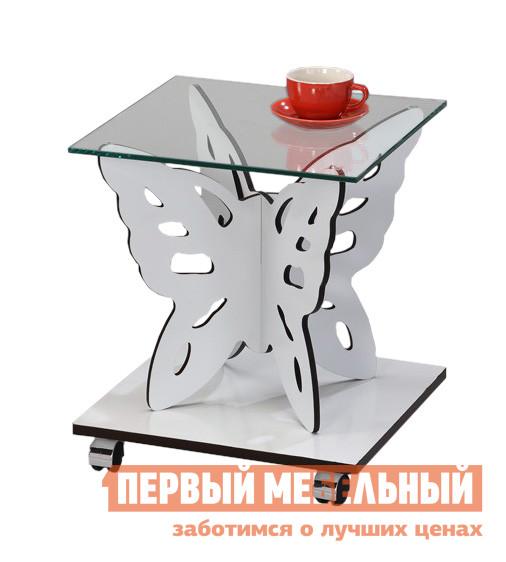 Журнальный столик Red and Black 1122-WT SR БелыйЖурнальные столики<br>Габаритные размеры ВхШхГ 460x400x400 мм. Креативный столик со стойкой в форме бабочки.  Комбинация простых геометричных форм и романтичной «бабочки», несомненно, придает модели экспрессивный вид.  Столик оснащен колесиками, его легко передвигать по комнате. Столешница выполнена из прозрачного ударопрочного стекла толщиной 8 мм.  Основание стола — МДФ 15 мм.<br><br>Цвет: Белый<br>Цвет: Белый<br>Высота мм: 460<br>Ширина мм: 400<br>Глубина мм: 400<br>Форма поставки: В разобранном виде<br>Срок гарантии: 6 месяцев<br>Тип: Кофейные, Дизайнерские<br>Назначение: Для офиса, Для гостиной<br>Материал: Стеклянные, из МДФ<br>Форма: Квадратные<br>Размер: Маленькие<br>Высота: Низкие<br>Особенности: С полкой, На колесиках<br>Стиль: Современный