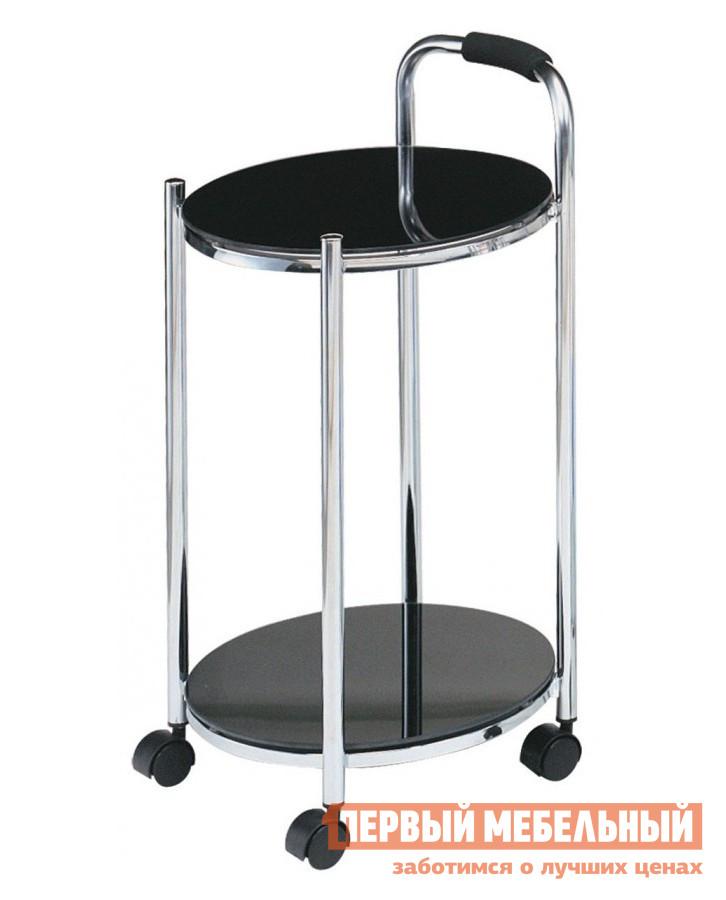 Сервировочный столик Red and Black ЕР 8263 ЧерныйСервировочные столики<br>Габаритные размеры ВхШхГ 655x340x340 мм. Аккуратный стильный столик на колесиках станет незаменимым помощником в вашем доме.  Удобная ручка позволит перемещать его по дому легко и просто. Каркас модели выполнен из хромированного металла, а столешницы — из закаленного стекла толщиной 5 мм.<br><br>Цвет: Черный<br>Высота мм: 655<br>Ширина мм: 340<br>Глубина мм: 340<br>Кол-во упаковок: 1<br>Форма поставки: В разобранном виде<br>Срок гарантии: 6 месяцев<br>Материал: Металл<br>Материал: Стекло<br>Форма: Круглые<br>Размер: Маленькие<br>С полкой: Да<br>На колесиках: Да<br>2-х ярусный: Да