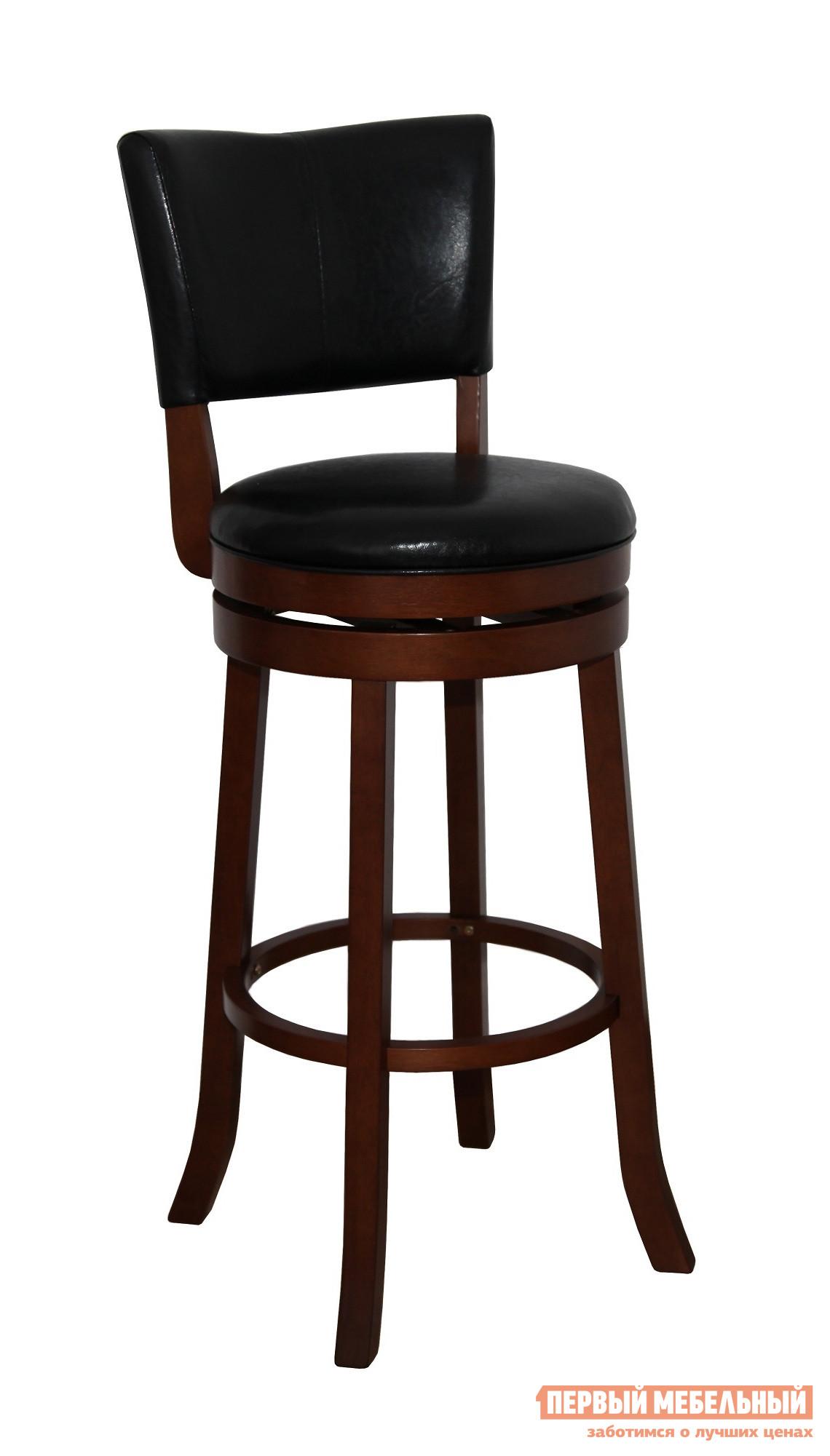 Барный стул Red and Black 9090 ШоколадБарные стулья<br>Габаритные размеры ВхШхГ 1100x430x430 мм. Стильный и элегантный барный стул с вращающимся механизмом будет гармонично смотреться как в классическом, так и в современном интерьере.  Модель идеально подходит для меблировки кухни, гостиной или барной зоны.  Деревянное кольцо, соединяющее ножки, будет служить удобной подставкой для ног, а мягкие сиденье и спинка обеспечат комфортный отдых. Диаметр сиденья — 430 мм. Высота от пола до сиденья — 800 мм. Каркас выполняется из массива гевеи, обивка на спинке и сиденье — искусственная кожа. Обратите внимание! Стулья поставляются комплектом по 2 штуки.  Цена указана за один стул.<br><br>Цвет: Коричневое дерево<br>Высота мм: 1100<br>Ширина мм: 430<br>Глубина мм: 430<br>Кол-во упаковок: 1<br>Форма поставки: В разобранном виде<br>Срок гарантии: 6 месяцев<br>Тип: Для кухни<br>Тип: Нерегулируемые<br>Тип: Высота сиденья 701-800мм<br>Материал: Дерево<br>Материал: Искусственная кожа<br>Материал: Натуральное дерево<br>Порода дерева: Гевея<br>Форма: Круглые<br>С мягким сиденьем: Да<br>Со спинкой: Да<br>С четырьмя ножками: Да