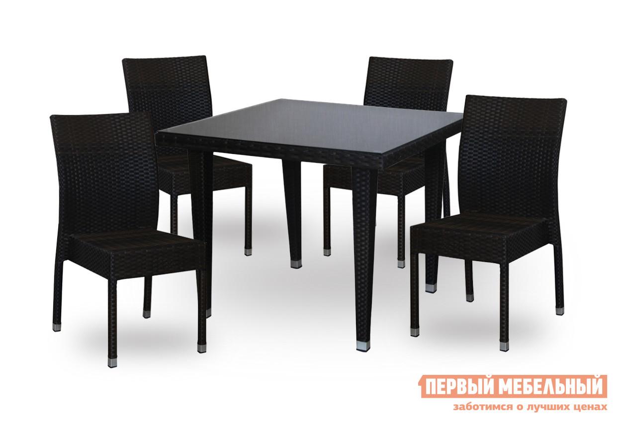 Комплект плетеной мебели Red and Black Милано №4 + 4 шт. 21251R