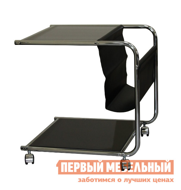 Стеклянный журнальный столик на колесиках Red and Black GC1931