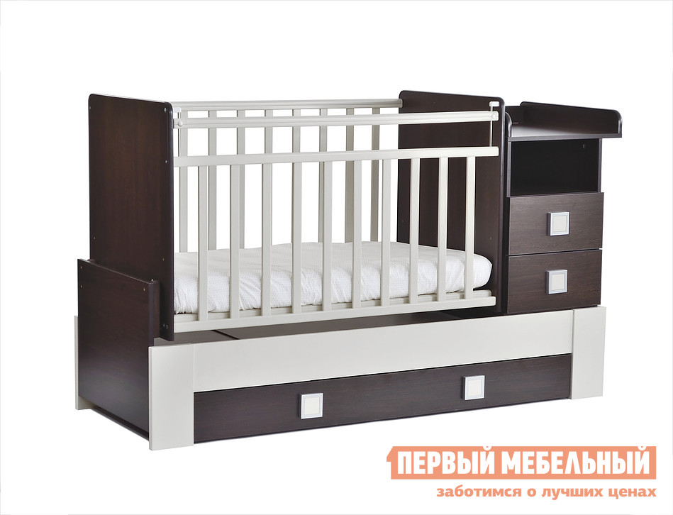 Кроватка SKV company СКВ-8 83003x Венге / Белый, Без матраса от Купистол