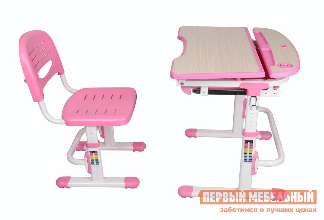Парта Fun Desk Sorriso Pink (розовый) Fun Desk Габаритные размеры ВхШхГ 540 / 760x705x545 мм. Функциональный комплект из парты-трансформера и стула, который растет вместе с вашим ребенком.  Регулировки высоты позволяют подстроить их под соответствующий рост.  Кроме того, эргономика конструкции и качественное исполнение помогут поддержать и сформировать правильную осанку ребенка, обеспечат безопасность во время обучения и творчества. <br>Парта имеет размеры (ШхГ): 705х545 мм, высота регулируется в пределах от 540 до 760 мм. <br>Столешница с изменяемым до 60° углом наклона (имеет 2 положения) поможет комфортно расположиться во время чтения, рисования и письма.  Ребенок может использовать парту как мольберт.  Размер наклонной части (ШхГ): 705x373 мм, толщина — 18 мм. <br>Все углы скруглены и безопасны. <br>Имеется крючок для портфеля и специальное углубление в столешнице для канцтоваров. <br>Удобный выдвижной ящик для книг и тетрадей. <br><br>Стул  имеет размеры (ШхГ): 390х418 мм, высота со спинкой регулируется в пределах от 653 до 793 мм, высота от пола до сиденья — в пределах от 300 до 440 мм. <br>Сиденье и спинка имеют перфорацию для лучшего воздухообмена. <br><br>Регулировка высоты стола и стула:  многоступенчатая механическая. <br />Высоту стула можно отрегулировать, наступив на опорную перекладину и потянуть его вверх до необходимой высоты.  Уменьшить высоту можно, вытянув стул вверх на максимальную высоту и затем опустив до самого низа. <br>При производстве используются исключительно экологически чистые и современные материалы.  Столешница выполнена из МДФ, цветные детали, сиденье и спинка стула — полипропилен, корпус — окрашенный металл. <br>Рекомендуемый возраст для использования комплекта: от 3 до 12 лет. <br>