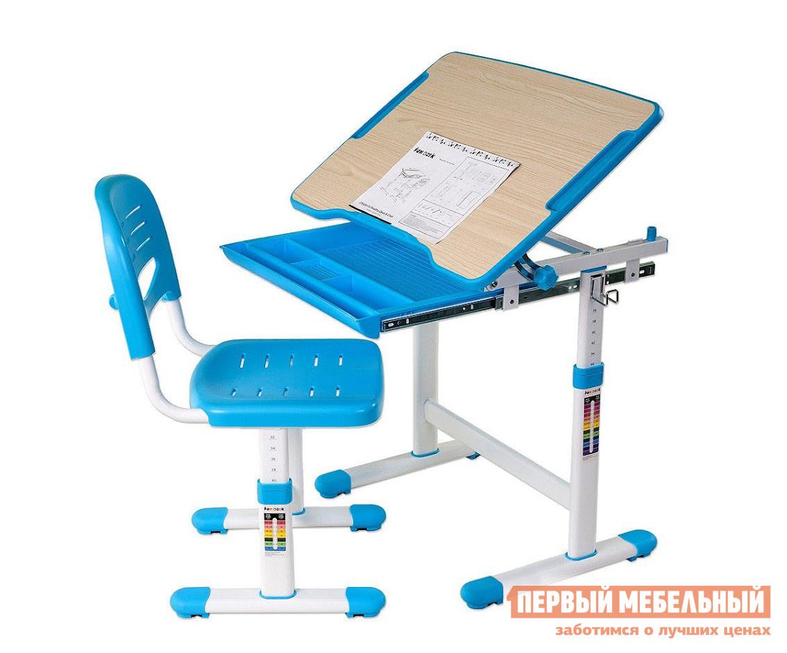 Парта Fun Desk PICCOLINO Blue (голубой) Fun Desk Габаритные размеры ВхШхГ 540 / 760x664x474 мм. Организовать удобный рабочий уголок для вашего ребенка поможет комплект из парты-трансформера с выдвижным лотком для мелочей и стула.  Мебель эргономичная, современная, она позаботится о здоровой осанке и зрении малыша, а также об удобстве и безопасности его деятельности.  Благодаря регулировкам высоты парты и стула, вы можете адаптировать комплект под соответствующий рост ребенка.  На ножках изделий даны необходимые подсказки. <br>Парта имеет размеры (ШхГ): 664х474 мм, высота регулируется в пределах от 540 до 760 мм. <br>Столешница с изменяемым до 40° углом наклона поможет комфортно расположиться во время чтения, рисования и письма.  Ребенок может использовать парту как мольберт.  Размер наклонной части (ШхГ): 664x474 мм, толщина — 15 мм. <br>Наклон регулируется при помощи кнопки. <br>Поверхность столешницы имеет специальное антибликовое покрытие для защиты зрения ребенка. <br>Все углы скруглены и безопасны. <br>Имеется крючок для портфеля и специальное углубление в столешнице для канцтоваров. <br>Удобный выдвижной лоток для хранения книг, тетрадей и различных мелочей. <br><br>Стул  имеет размеры (ШхГ): 390х418 мм, высота со спинкой регулируется в пределах от 653 до 793 мм, высота от пола до сиденья — в пределах от 320 до 440 мм. <br>Сиденье и спинка имеют перфорацию для лучшего воздухообмена. <br><br>Регулировка высоты стола и стула:  многоступенчатая механическая. <br>При производстве используются исключительно экологически чистые и современные материалы.  Столешница выполнена из МДФ, цветные детали, сиденье и спинка стула — полипропилен, корпус — окрашенный металл. <br>Рекомендуемый возраст для использования комплекта: от 3 до 12 лет. <br>Габаритные размеры упаковки составляют: 735х535х210 мм. <br>
