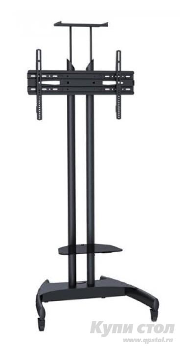 Напольная ТВ-стойка iTECHmount T1023B ЧерныйНапольные ТВ-стойки<br>Габаритные размеры ВхШхГ 2200x730x720 мм. Напольная стойка для установки ТВ и мультимедиа аппаратуры.  Модель позволит организовать домашний кинотеатр в гостиной или спальне.  Стойка не занимает много места, удобный вариант для небольшой комнаты или офиса. Конструкция рассчитана для установки телевизоров с диагональю от 32 до 60 со стандартом VESA: max 600 х 400 мм.  Кронштейн выдерживает нагрузку до 70 кг. Кронштейн оборудован механизмом регулировки высоты. На стойке есть стеклянная полочка для ПДУ и прочих аксессуаров. Модель оборудована колесиками для удобного перемещения по комнате. Ножка и кронштейн выполняются из металла, полка — стекло 6 мм.<br><br>Цвет: Черный<br>Цвет: Черный<br>Высота мм: 2200<br>Ширина мм: 730<br>Глубина мм: 720<br>Кол-во упаковок: 1<br>Форма поставки: В разобранном виде<br>Срок гарантии: 3 года