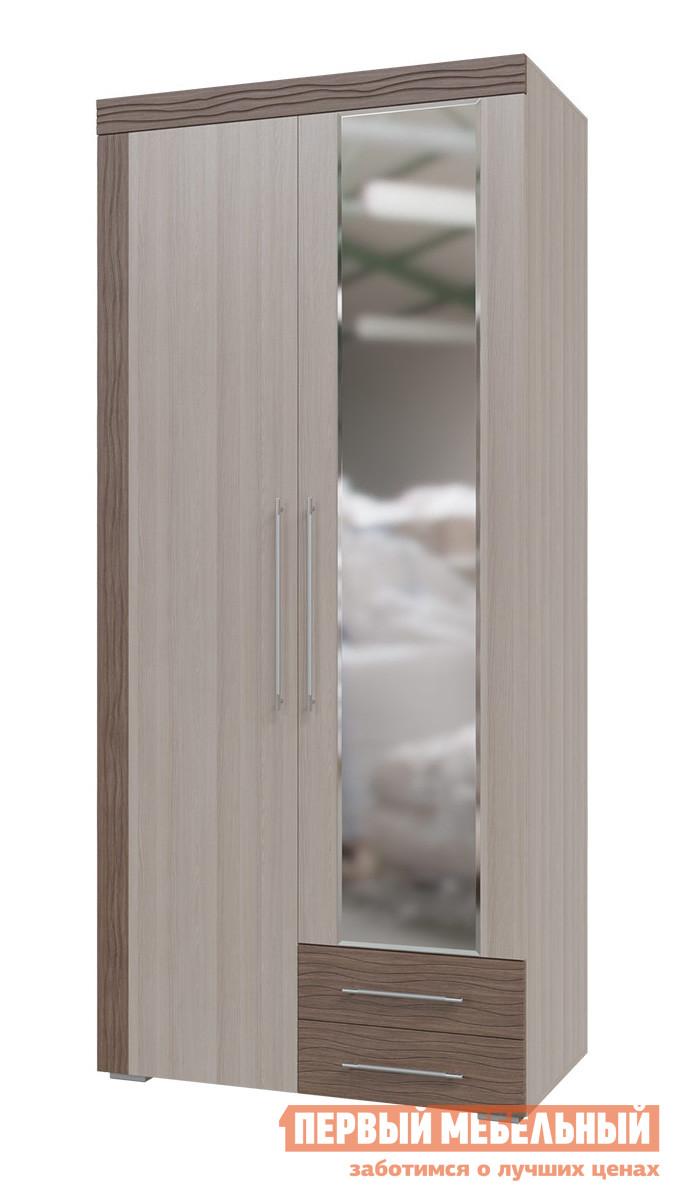 Шкаф распашной Гранд Кволити 4-4810 Ясень Шимо светлый / Ясень Шимо ТемныйШкафы распашные<br>Габаритные размеры ВхШхГ 2220x1000x565 мм. Вместительный шкаф для одежды — полезный элемент хранения в любой комнате.  Модель выполнена в светлых древесных оттенках с контрастными вставками, оформление которых придают шкафу стильный образ массивной мебели. Внутри располагаются отделение со штангой для вешалок, полки, антресольная полка.  В основании есть два выдвижных ящика.  Одна створка дополнена зеркальным полотном, что делает эту модель шкафа еще более удобной в использовании. Шкаф универсальный: наполнение можно разместить в любом порядке и зеркальную дверь навесить на любую сторону. Изделие производится из ЛДСП, в фасадах используется МДФ.  Края обработаны кромкой ПВХ. Зеркальный фасад прикрепляется к двери сразу, дополнительная установка не требуется.<br><br>Цвет: Темное-cветлое дерево<br>Высота мм: 2220<br>Ширина мм: 1000<br>Глубина мм: 565<br>Кол-во упаковок: 3<br>Форма поставки: В разобранном виде<br>Срок гарантии: 18 месяцев<br>Тип: Прямые<br>Материал: Дерево<br>Материал: ЛДСП<br>Материал: МДФ<br>Размер: Двухдверные<br>С зеркалом: Да<br>С ящиками: Да<br>С рисунком: Да