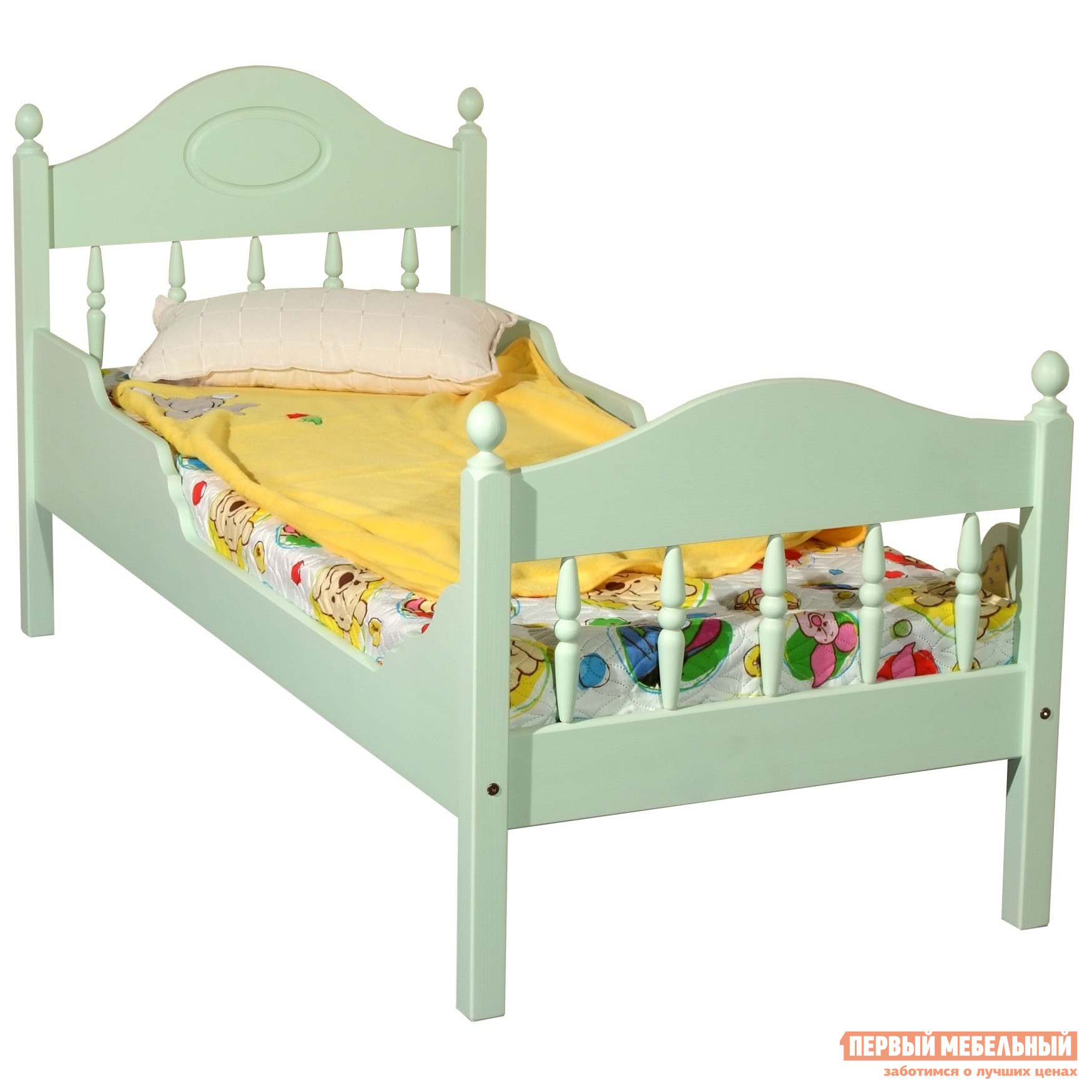 Детская кровать Timberica Кровать Фрея-2 детская Спальное место 900 Х 2000 мм, Эмаль салатовая, Без матрасаДетские кровати<br>Габаритные размеры ВхШхГ 870x2090x760 мм. Это красивая и удобная детская кроватка.  Важным параметром любой детской комнаты является экологичность.  Данная модель изготовлена из экологически чистой карельской сосны, которая благодаря своим природным свойствам не нуждается в дополнительной химической обработке.  Эта кровать прекрасно подойдёт детям практически любого возраста. Кровать представлена в нескольких размерах, перед оформлением заказа выберите наиболее подходящий вариант исполнения. Обратите внимание! Необходимо выбрать комплектацию: с матрасом или без.  С матрасом, поставляемым в комплекте вы можете ознакомиться во вкладке «Аксессуары».<br><br>Цвет: Зеленый<br>Высота мм: 870<br>Ширина мм: 2090<br>Глубина мм: 760<br>Кол-во упаковок: 2<br>Форма поставки: В разобранном виде<br>Срок гарантии: 1 год<br>Тип: Одноярусные<br>Назначение: Для подростков<br>Материал: Натуральное дерево<br>Материал: Массив дерева<br>Размер: Спальное место 90Х200<br>Размер: Спальное место 80Х200<br>Размер: Спальное место 70Х200<br>Размер: Низкие<br>С матрасом: Да<br>Возраст: От 3-х лет<br>Возраст: От 4-х лет<br>Возраст: От 5 лет<br>Пол: Для девочек<br>Пол: Для мальчиков<br>Размер спального места: Односпальные