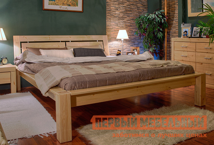 Двуспальная кровать из массива дерева Timberica Брамминг-1 кровать чердак из массива дерева timberica кровать верхнеярусная 3 классик