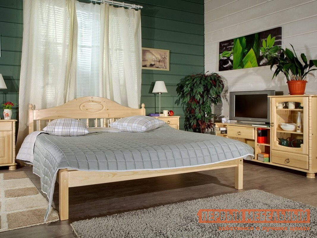 Кровать Timberica Фрея (F1) Бесцветный лак, Спальное место 900 Х 2000 мм, Без матраса