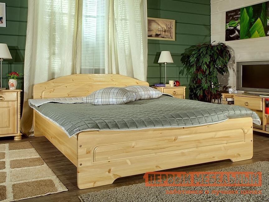 Двуспальная кровать из сосны Timberica Эрика двуспальная мебельтрия кровать двуспальная токио см 131 01 002 дуб белфорт кожа темная