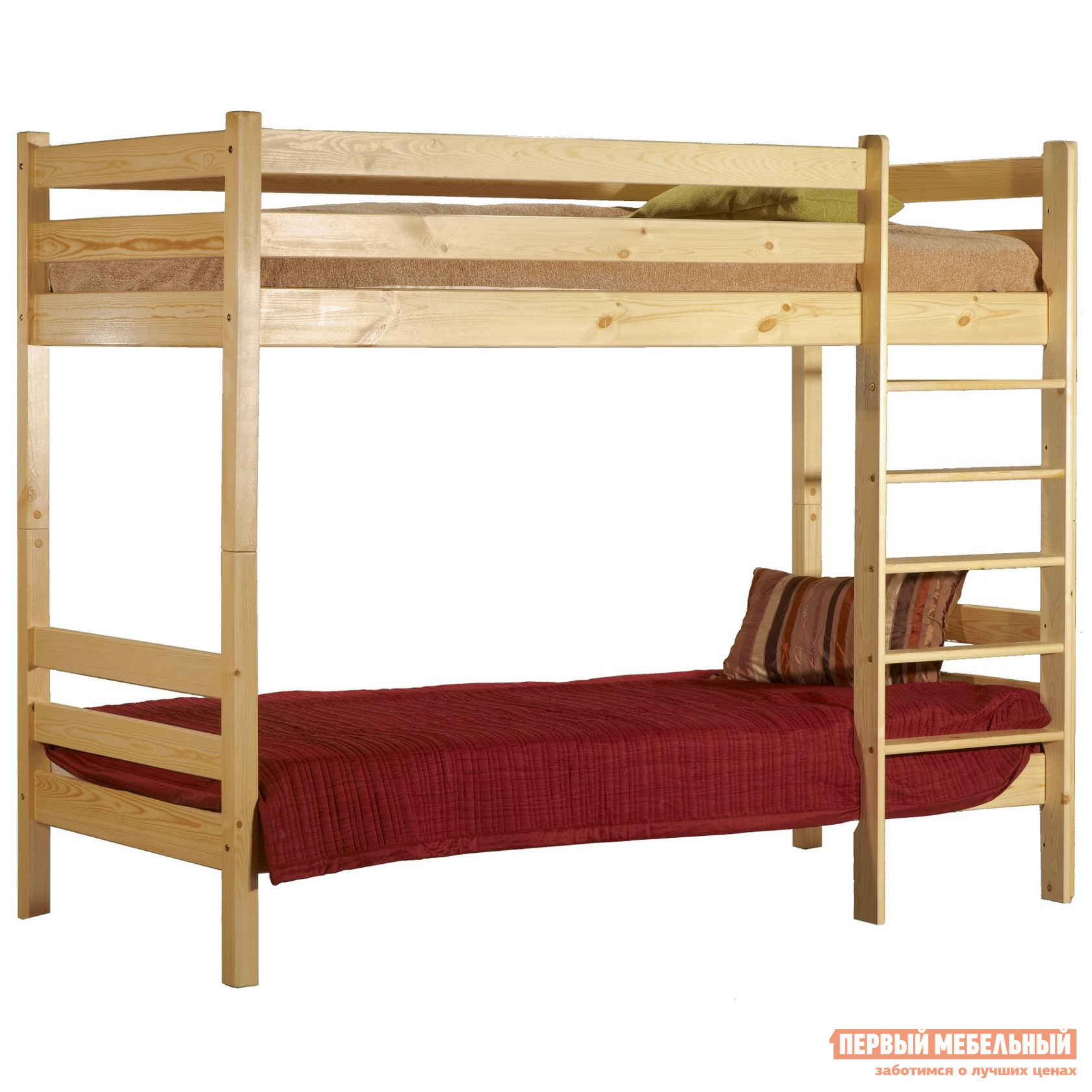 Кровать Timberica Кровать 2-ярусная Классик Спальное место 800 Х 2000 мм, Бесцветный лак, Без матрасов