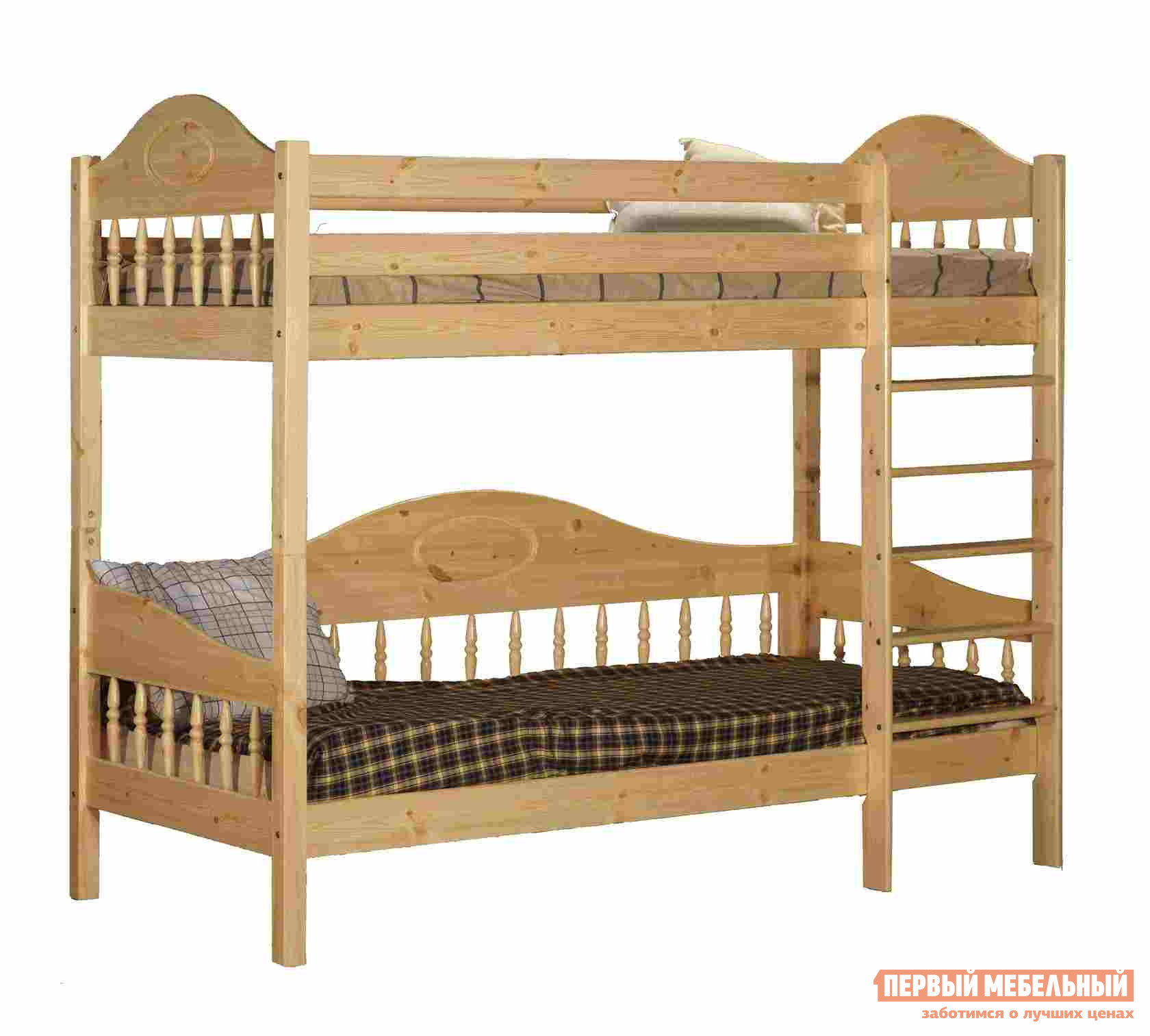 Кровать Timberica Кровать 2-ярусная Фрея (F3) Спальное место 700 Х 2000 мм, Бесцветный лак, Без матрасов Timberica Габаритные размеры ВхШхГ 1830x1020x2110 мм. Двухъярусная деревянная кровать с точеными спинками украсит помещение и придаст интерьеру лёгкость.  Конструкция деревянной двухъярусной кровати вполне классическая, прочная и долговечная.  Реечное основание спального места жёсткое и ровное, что благоприятно для опорно-двигательного аппарата, в том числе, для позвоночника, а также для здорового сна.  Благодаря лаковому покрытию кровать не боится влажной уборки. <br> Кровать представлена в нескольких размерах, перед оформлением заказа выберите наиболее подходящий вариант исполнения.  Максимальная нагрузка составляет до 90 кг на каждый ярус с учётом веса матраса. <br>Обратите внимание! Необходимо выбрать комплектацию: с матрасами или без.  <br />С матрасами, поставляемыми в комплекте вы можете ознакомиться во вкладке «Аксессуары». <br>