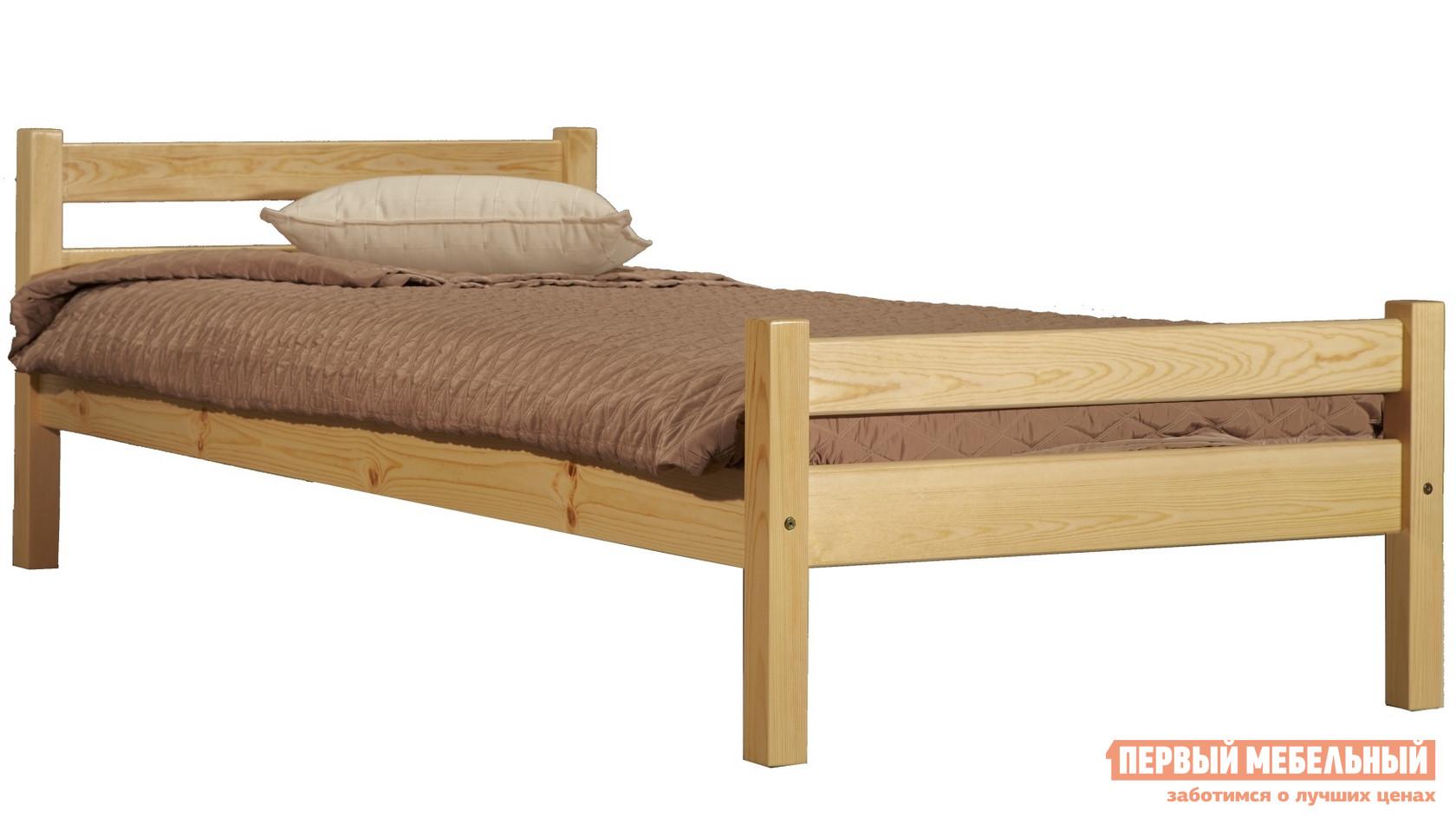 Полутороспальная кровать Timberica Классик Бесцветный лак, Спальное место 1200 Х 2000 мм