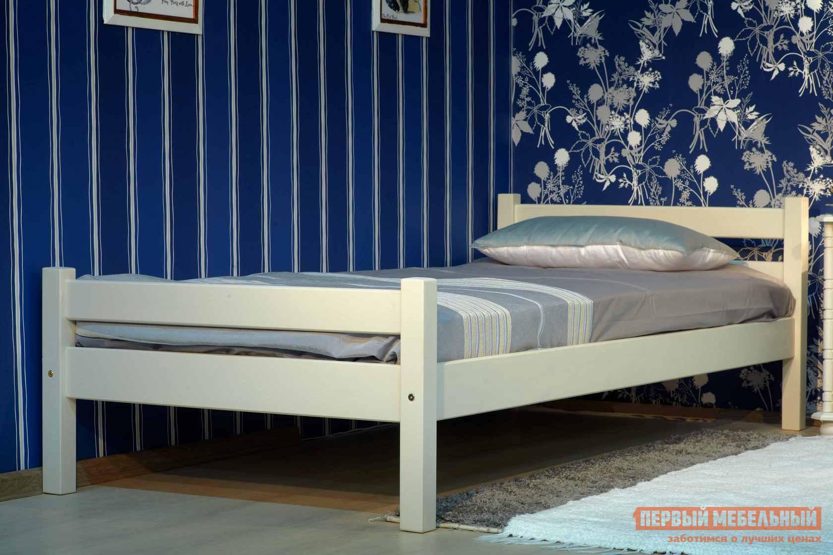 Односпальная кровать  Кровать Классик Эмаль слоновая кость, Спальное место 900 Х 1900 мм