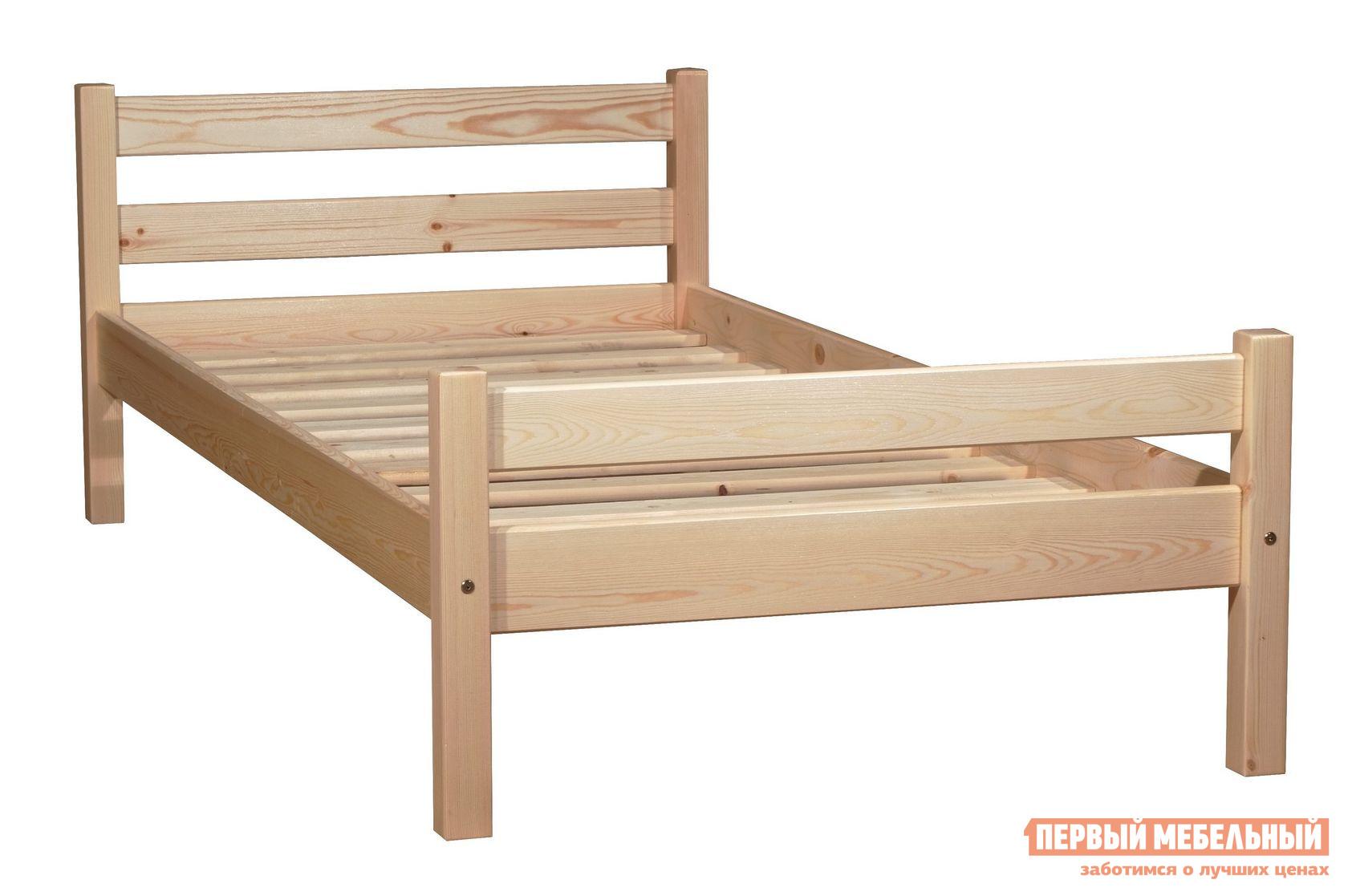 Односпальная кровать  Кровать Классик Бесцветный лак, Спальное место 800 Х 2000 мм