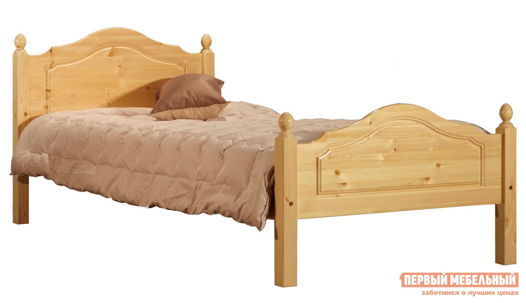 Кровать Timberica Кая (K2) Спальное место 900 Х 2000 мм, Бесцветный лак, Без матрасаОдноспальные кровати<br>Габаритные размеры ВхШхГ 870x980x2110 мм. Односпальная кровать, привлекающая комфортом, качеством и классикой стиля.  Выполнена  из натурального дерева – массива сосны – теплого, качественного и экологически чистого материала. Реечное основание входит в комплект. Обратите внимание! Необходимо выбрать удобный для вас вариант покупки кровати: с матрасом или без него.  Ознакомиться с матрасом, который входит в комплект кровати, вы можете в разделе «Аксессуары». Рекомендуемый размер матраса – 900 х 2000 мм.<br><br>Цвет: Бесцветный лак<br>Цвет: Светлое дерево<br>Высота мм: 870<br>Ширина мм: 980<br>Глубина мм: 2110<br>Кол-во упаковок: 2<br>Форма поставки: В разобранном виде<br>Срок гарантии: 1 год<br>Тип: Простые<br>Материал: Деревянные, Из натурального дерева<br>Порода дерева: из сосны<br>Размер: Спальное место 90х200 см<br>Особенности: С ортопедическим основанием, На ножках, С матрасом